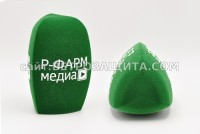 Windscreen for microphone with R-PHARM MEDIA logo